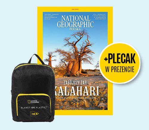 Roczna prenumerata National Geographic + rozkładany plecak 'Planet or Plastic'